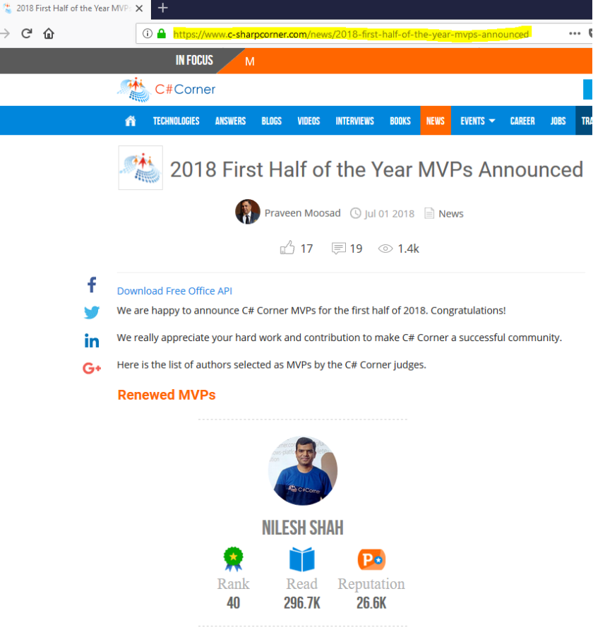 CSCorner MVP 2018